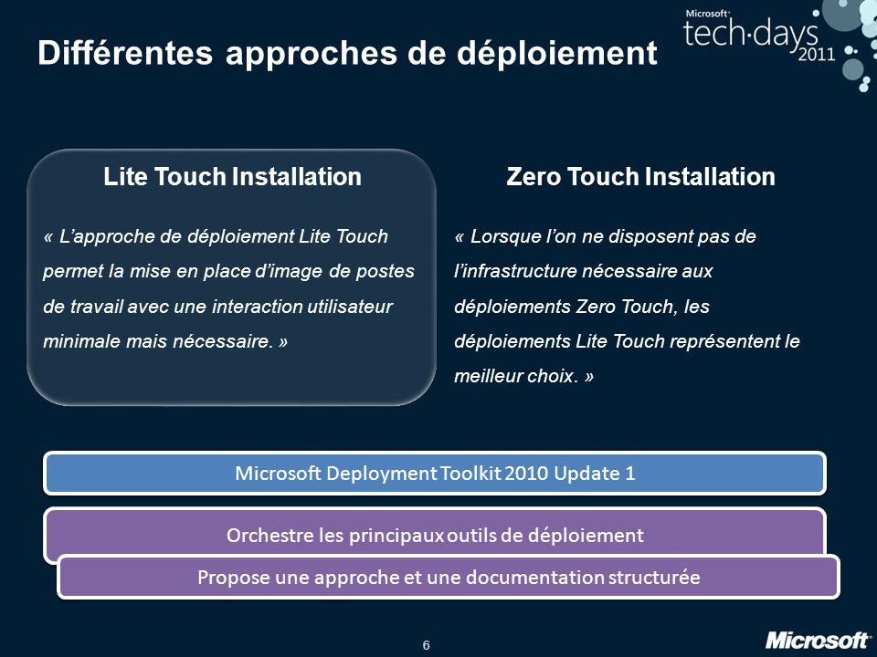 6 Différentes approches de déploiement Lite Touch InstallationZero Touch Installation « Lapproche de déploiement Lite Touch permet la mise en place di