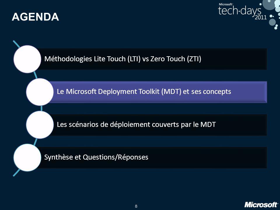 8 AGENDA Méthodologies Lite Touch (LTI) vs Zero Touch (ZTI) Le Microsoft Deployment Toolkit (MDT) et ses concepts Les scénarios de déploiement couvert