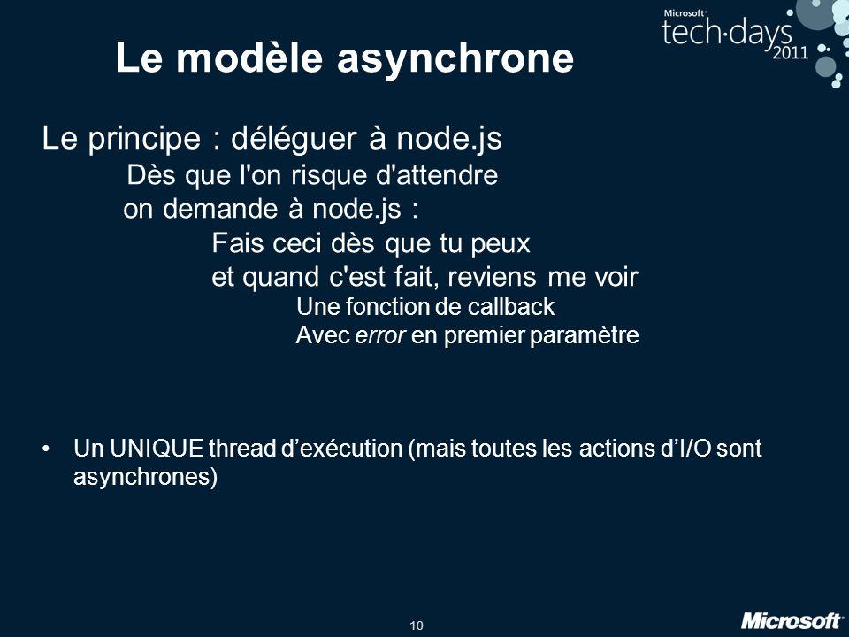 10 Le modèle asynchrone Le principe : déléguer à node.js Dès que l on risque d attendre on demande à node.js : Fais ceci dès que tu peux et quand c est fait, reviens me voir Une fonction de callback Avec error en premier paramètre Un UNIQUE thread dexécution (mais toutes les actions dI/O sont asynchrones)