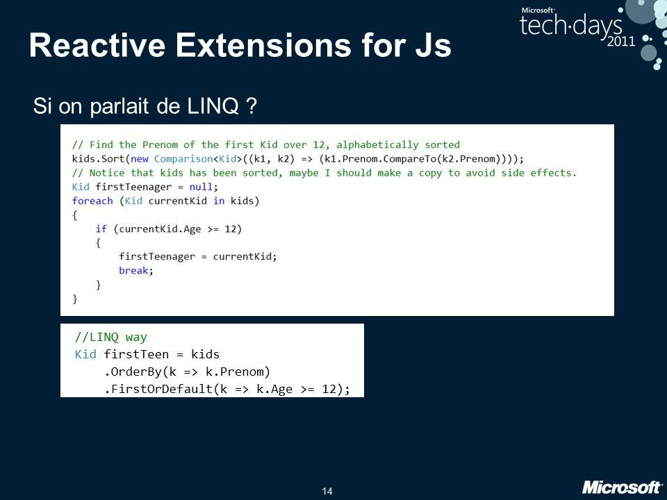 14 Reactive Extensions for Js Si on parlait de LINQ