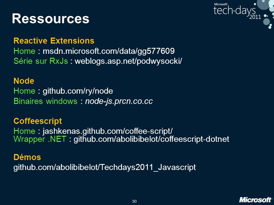 30 Ressources Reactive Extensions Home : msdn.microsoft.com/data/gg577609 Série sur RxJs : weblogs.asp.net/podwysocki/ Node Home : github.com/ry/node Binaires windows : node-js.prcn.co.cc Coffeescript Home : jashkenas.github.com/coffee-script/ Wrapper.NET : github.com/abolibibelot/coffeescript-dotnet Démos github.com/abolibibelot/Techdays2011_Javascript