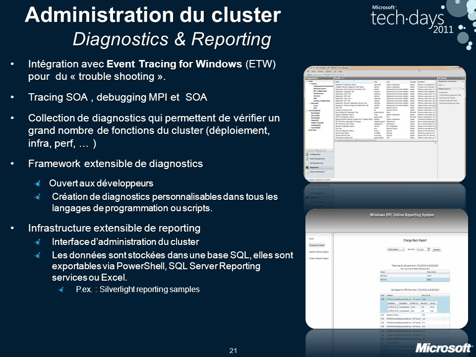 21 Administration du cluster Diagnostics & Reporting Intégration avec Event Tracing for Windows (ETW) pour du « trouble shooting ».Intégration avec Ev