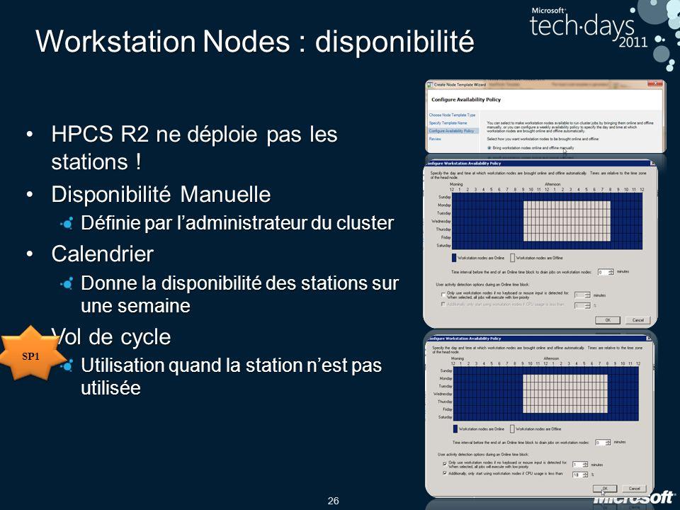 26 Workstation Nodes : disponibilité HPCS R2 ne déploie pas les stations !HPCS R2 ne déploie pas les stations .