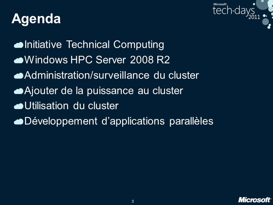 14 Architecture dun cluster HPC Compute Nodes HPC Clients Head Nodes Active Directory Jobs Windows HPC Server 2008 R2 cluster Requests