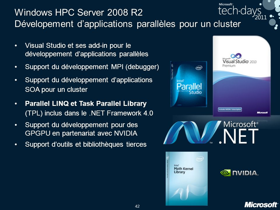 42 Windows HPC Server 2008 R2 Dévelopement dapplications parallèles pour un cluster Visual Studio et ses add-in pour le développement dapplications pa
