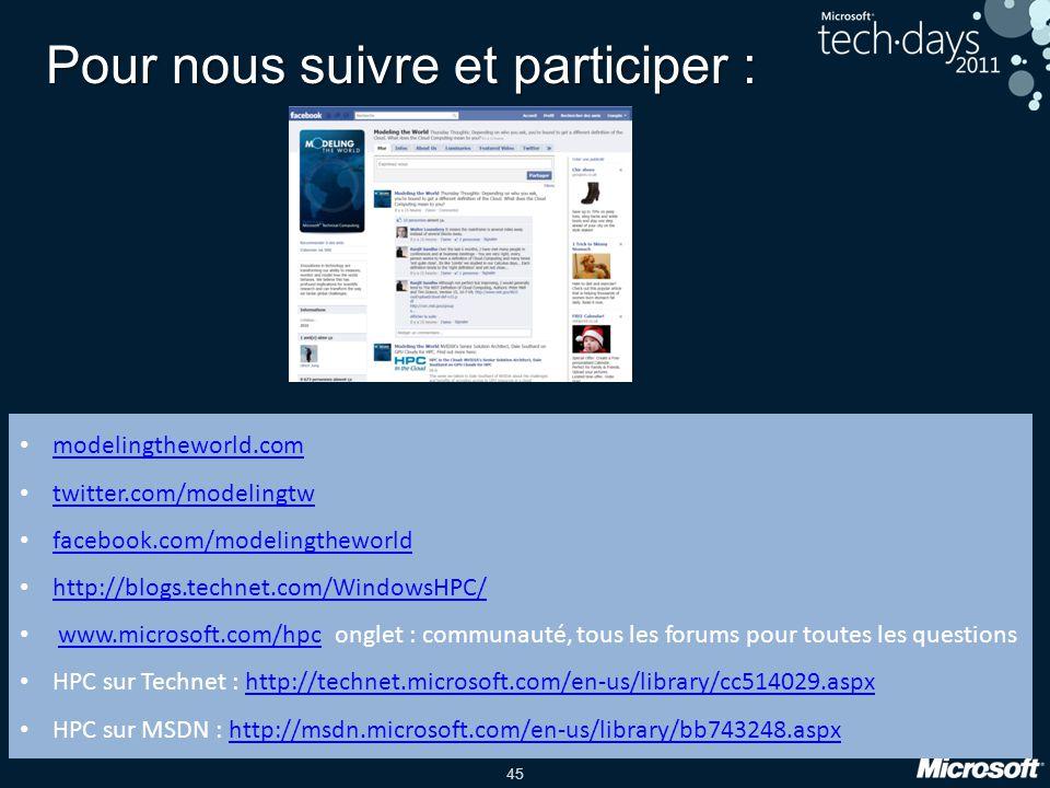 45 Pour nous suivre et participer : modelingtheworld.com twitter.com/modelingtw facebook.com/modelingtheworld http://blogs.technet.com/WindowsHPC/ www.microsoft.com/hpconglet : communauté, tous les forums pour toutes les questionswww.microsoft.com/hpc HPC sur Technet : http://technet.microsoft.com/en-us/library/cc514029.aspxhttp://technet.microsoft.com/en-us/library/cc514029.aspx HPC sur MSDN : http://msdn.microsoft.com/en-us/library/bb743248.aspxhttp://msdn.microsoft.com/en-us/library/bb743248.aspx