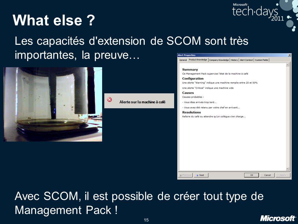 15 What else ? Les capacités d'extension de SCOM sont très importantes, la preuve… Avec SCOM, il est possible de créer tout type de Management Pack !