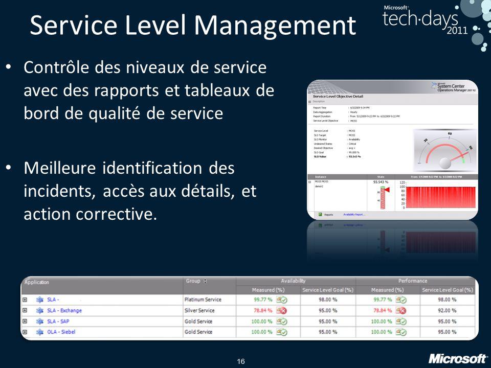 16 Service Level Management Contrôle des niveaux de service avec des rapports et tableaux de bord de qualité de service Meilleure identification des incidents, accès aux détails, et action corrective.