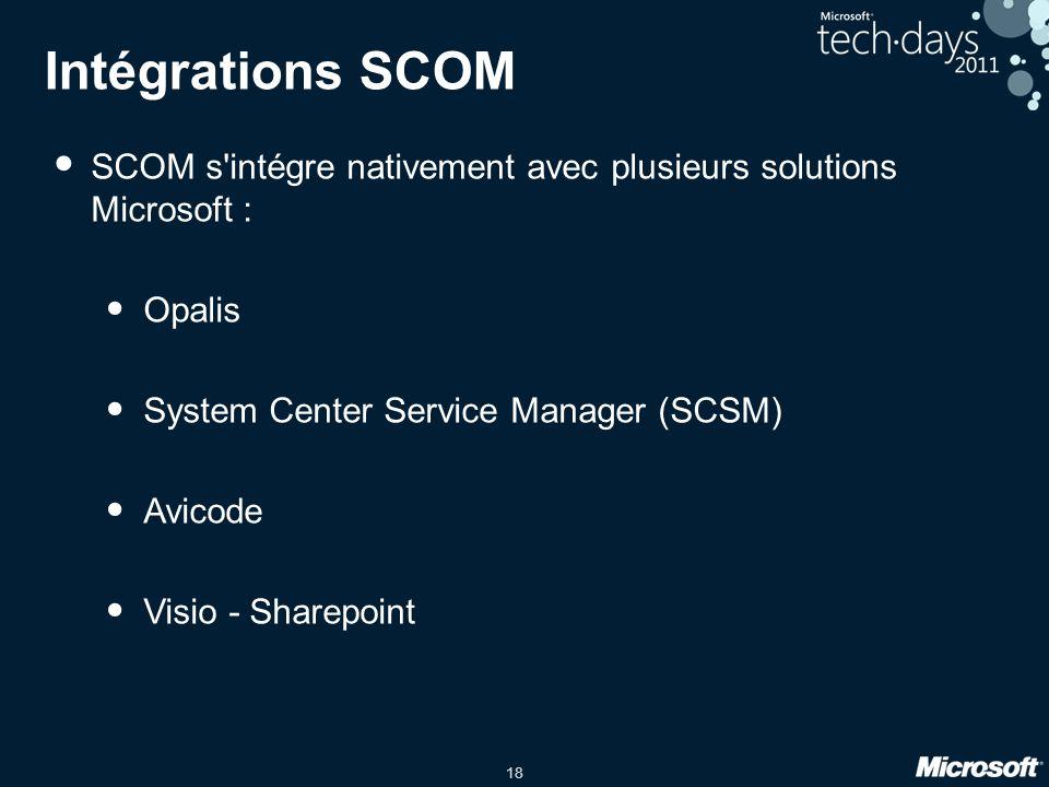 18 Intégrations SCOM SCOM s intégre nativement avec plusieurs solutions Microsoft : Opalis System Center Service Manager (SCSM) Avicode Visio - Sharepoint