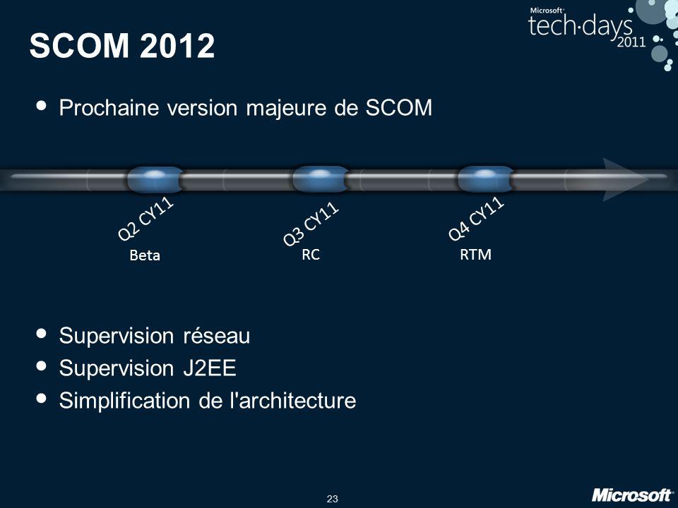 23 SCOM 2012 Prochaine version majeure de SCOM Supervision réseau Supervision J2EE Simplification de l architecture Q3 CY11 RC Q4 CY11 RTM Q2 CY11 Beta