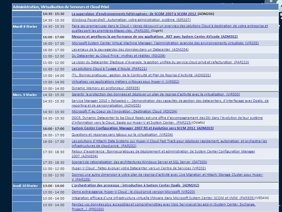 32 Administration, Virtualisation de Serveurs et Cloud Privé 14:30 - 15:30La supervision d environnements hétérogènes : de SCOM 2007 à SCOM 2012 La supervision d environnements hétérogènes : de SCOM 2007 à SCOM 2012 (ADM206) 14:30 - 15:30 Windows Powershell : Automatiser votre administration système (SER207) Mardi 8 février14:30 - 15:30 Faire ses premiers pas dans le Cloud – Venez découvrir un overview des solutions Cloud à destination de votre entreprise et quelles sont les premières étapes clés.