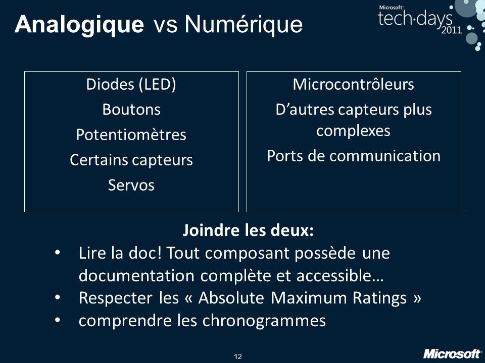 12 Analogique vs Numérique Diodes (LED) Boutons Potentiomètres Certains capteurs Servos Microcontrôleurs Dautres capteurs plus complexes Ports de communication Joindre les deux: Lire la doc.