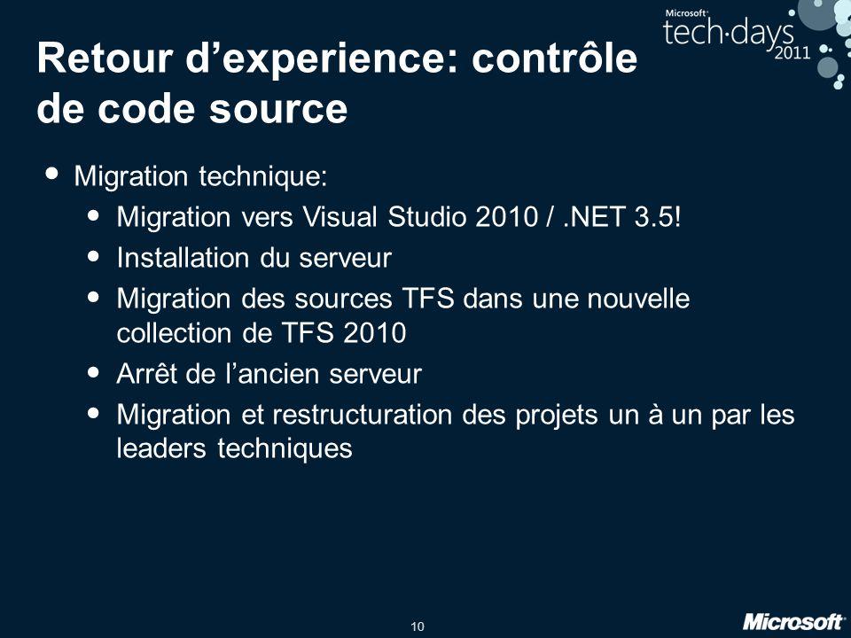 10 Retour dexperience: contrôle de code source Migration technique: Migration vers Visual Studio 2010 /.NET 3.5! Installation du serveur Migration des