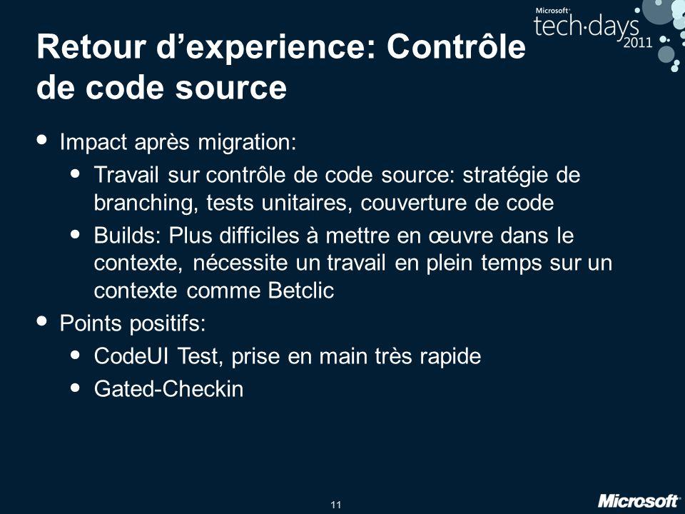 11 Retour dexperience: Contrôle de code source Impact après migration: Travail sur contrôle de code source: stratégie de branching, tests unitaires, c