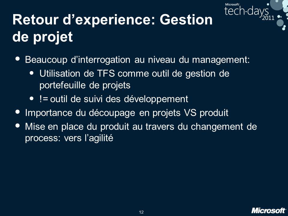 12 Retour dexperience: Gestion de projet Beaucoup dinterrogation au niveau du management: Utilisation de TFS comme outil de gestion de portefeuille de