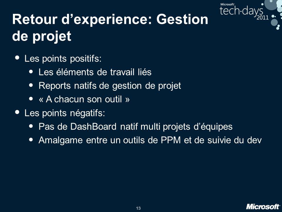 13 Retour dexperience: Gestion de projet Les points positifs: Les éléments de travail liés Reports natifs de gestion de projet « A chacun son outil »