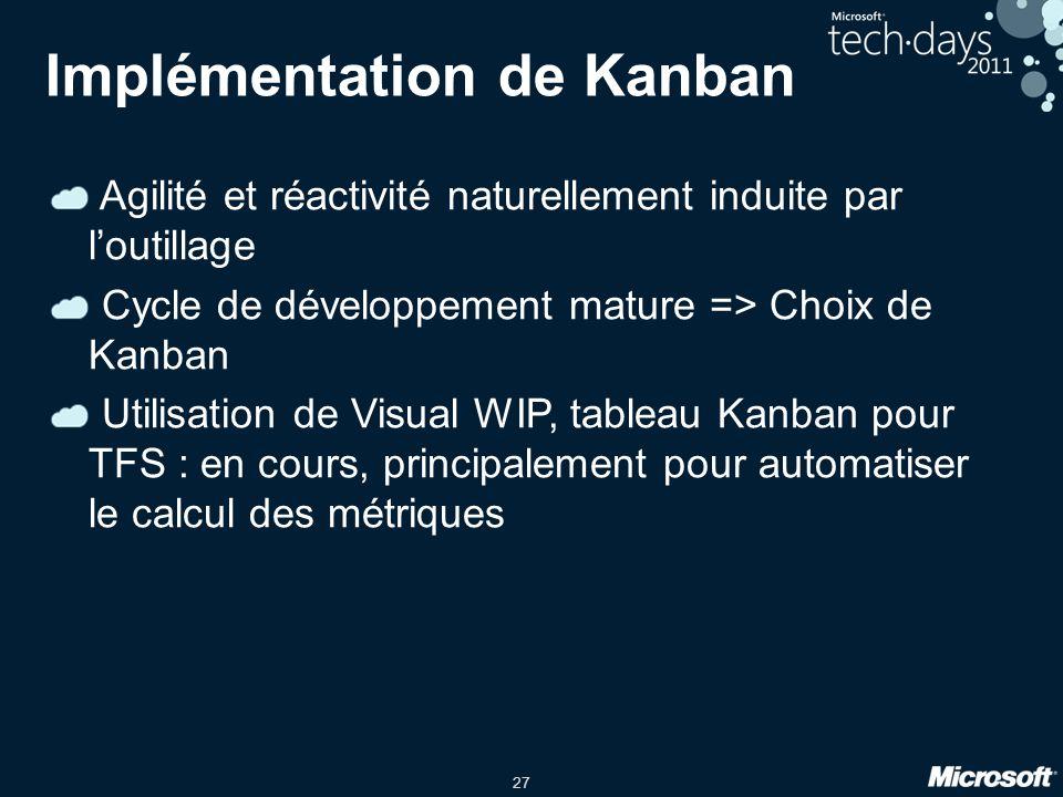 27 Implémentation de Kanban Agilité et réactivité naturellement induite par loutillage Cycle de développement mature => Choix de Kanban Utilisation de