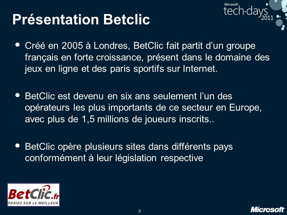 3 Présentation Betclic Créé en 2005 à Londres, BetClic fait partit dun groupe français en forte croissance, présent dans le domaine des jeux en ligne