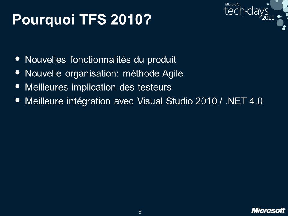 5 Pourquoi TFS 2010? Nouvelles fonctionnalités du produit Nouvelle organisation: méthode Agile Meilleures implication des testeurs Meilleure intégrati