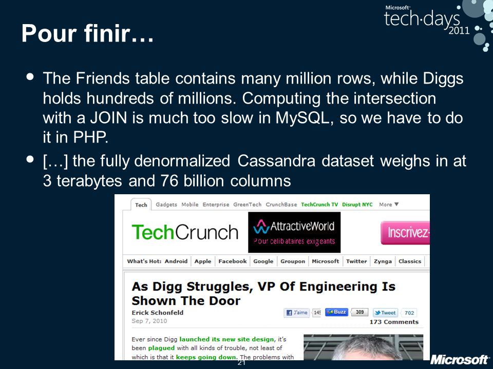 21 Pour finir… The Friends table contains many million rows, while Diggs holds hundreds of millions. Computing the intersection with a JOIN is much to