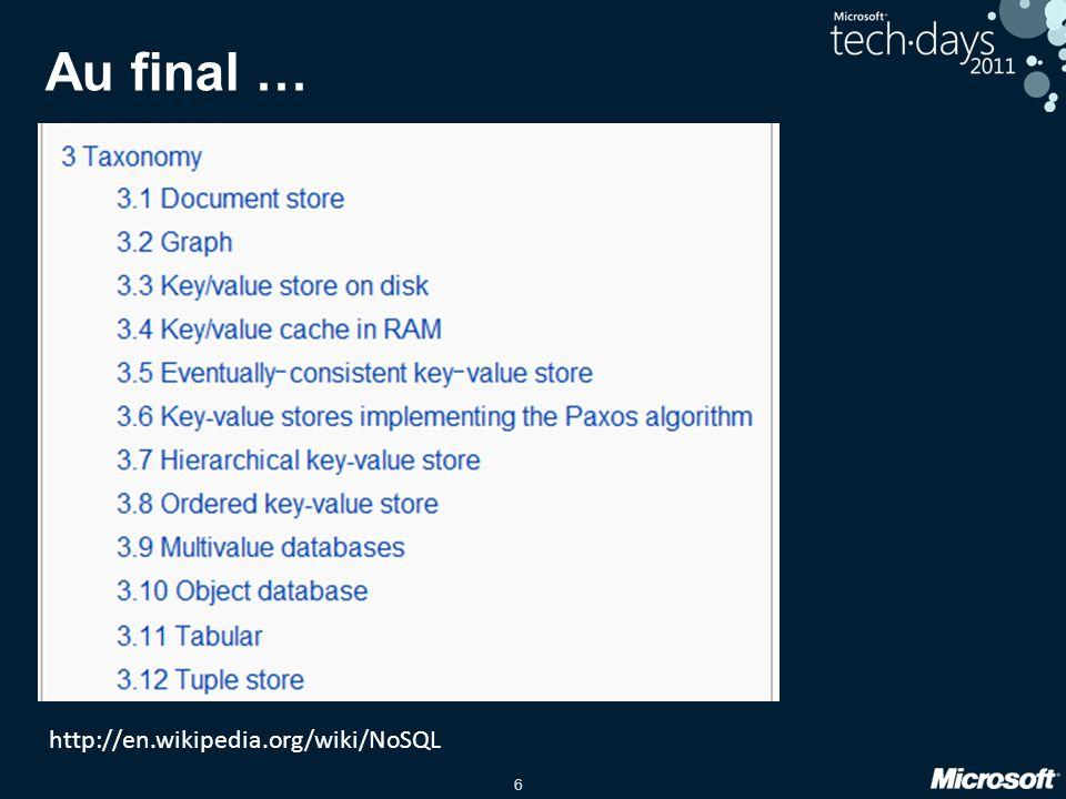6 Au final … http://en.wikipedia.org/wiki/NoSQL