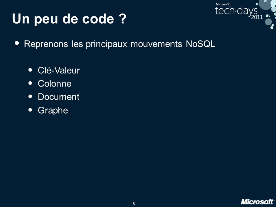 8 Un peu de code ? Reprenons les principaux mouvements NoSQL Clé-Valeur Colonne Document Graphe