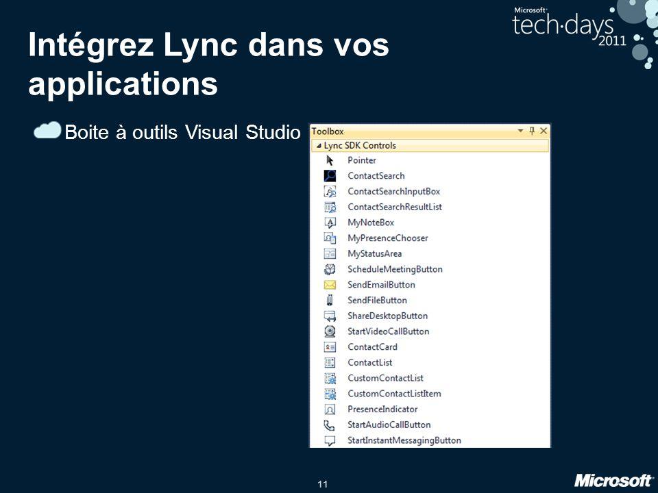 11 Intégrez Lync dans vos applications Boite à outils Visual Studio