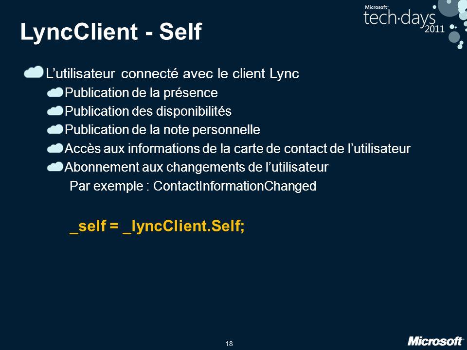 18 LyncClient - Self Lutilisateur connecté avec le client Lync Publication de la présence Publication des disponibilités Publication de la note person