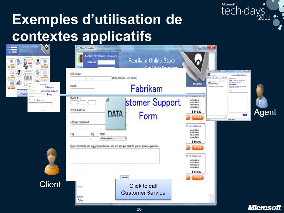 26 Click to call Customer Service Agent Client Exemples dutilisation de contextes applicatifs