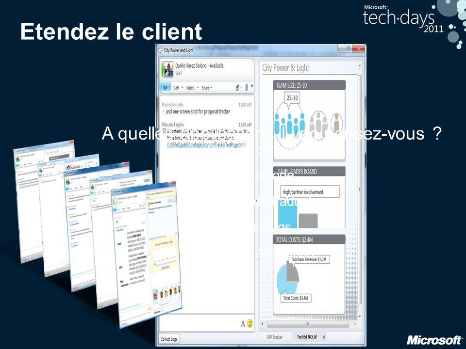 31 Etendez le client Service de traduction Premier à répondre Revue de code Suivi des bugs Suivi de commandes A quelles applications Lync pensez-vous