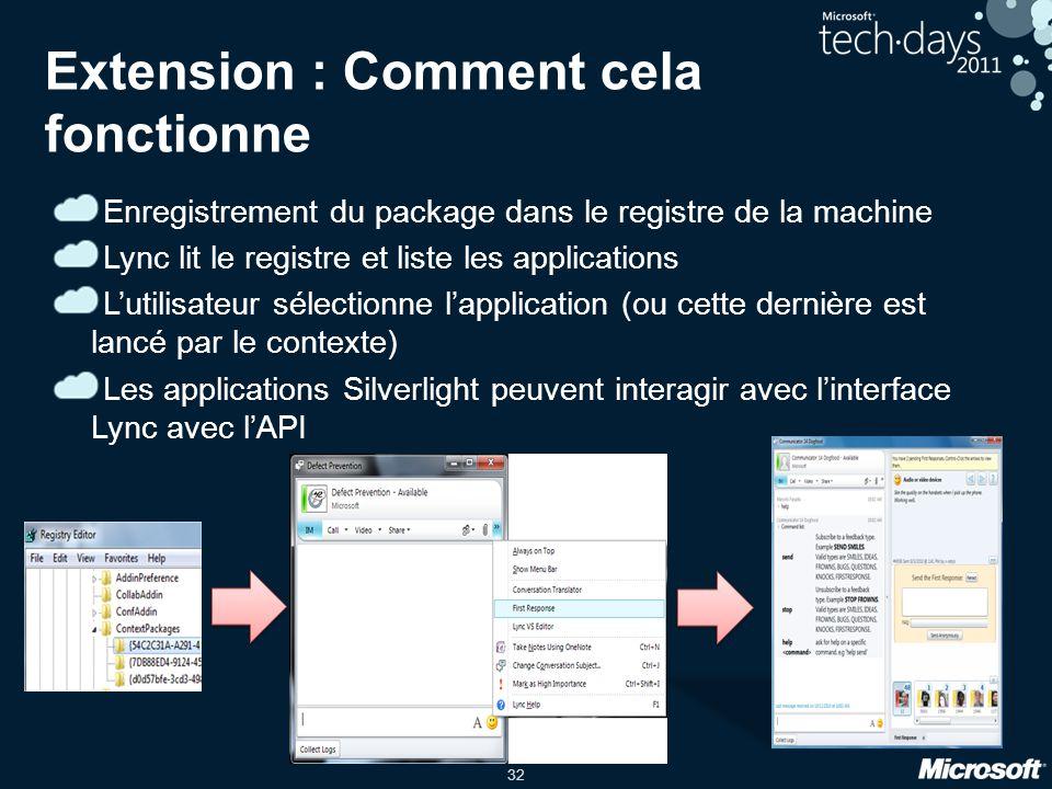 32 Extension : Comment cela fonctionne Enregistrement du package dans le registre de la machine Lync lit le registre et liste les applications Lutilis
