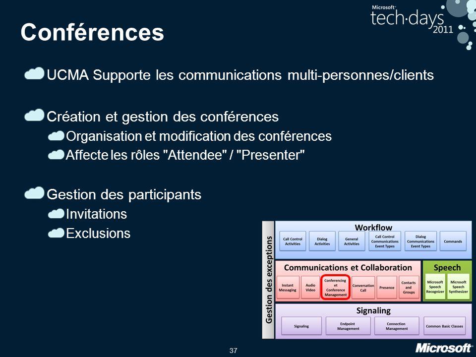 37 Conférences UCMA Supporte les communications multi-personnes/clients Création et gestion des conférences Organisation et modification des conférenc