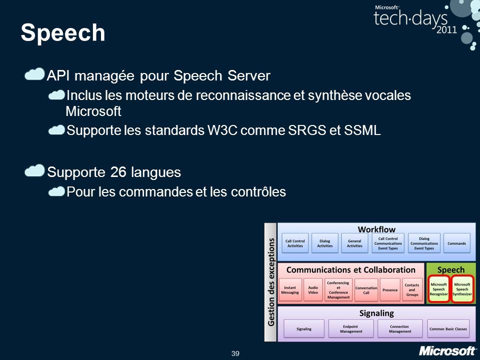 39 Speech API managée pour Speech Server Inclus les moteurs de reconnaissance et synthèse vocales Microsoft Supporte les standards W3C comme SRGS et S