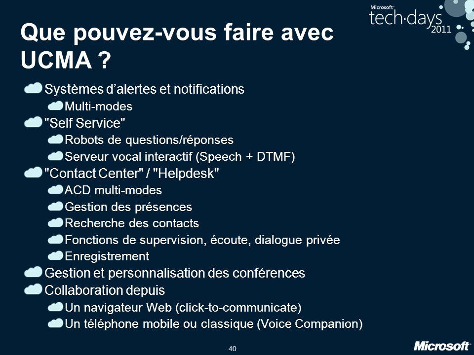 40 Que pouvez-vous faire avec UCMA ? Systèmes dalertes et notifications Multi-modes