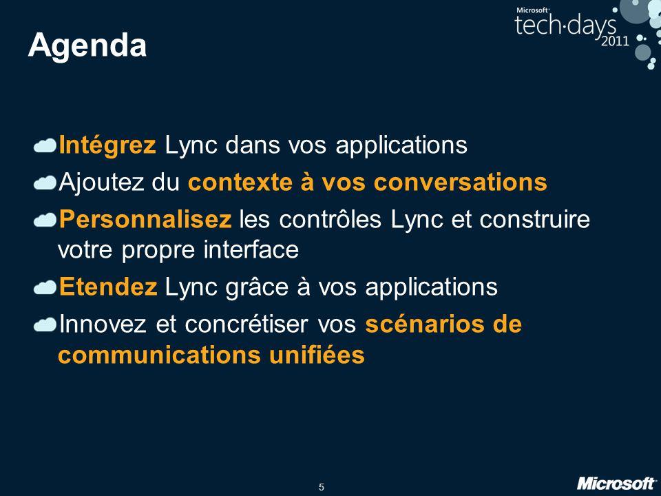 6 Le SDK Lync 2010 Le SDK Lync Est une API managée Contient une collection de contrôles Visuels Lync (WPF et Silverlight) Expose les fonctionnalités du client Lync Permet de manipuler le client Lync ou de construire sa propre interface LAPI à besoin que le client Lync soit présent sur lordinateur local Réutilisation de la connexion vers Lync Server