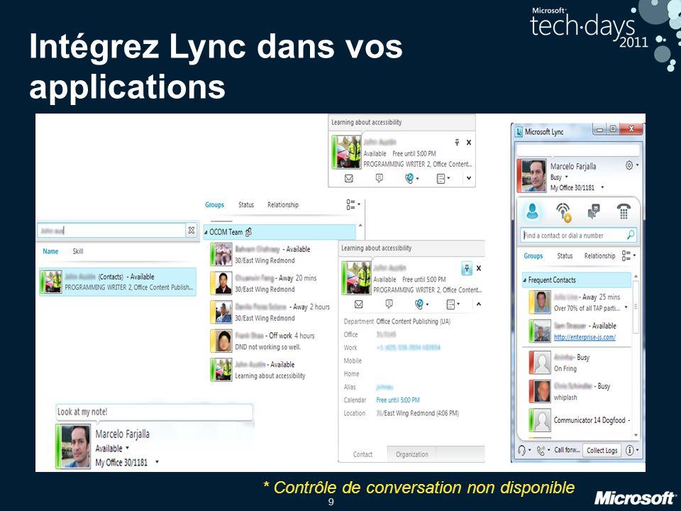 9 Intégrez Lync dans vos applications Contrôles Silverlight et WPF * Contrôle de conversation non disponible Rechercher des personnes Listes de contac