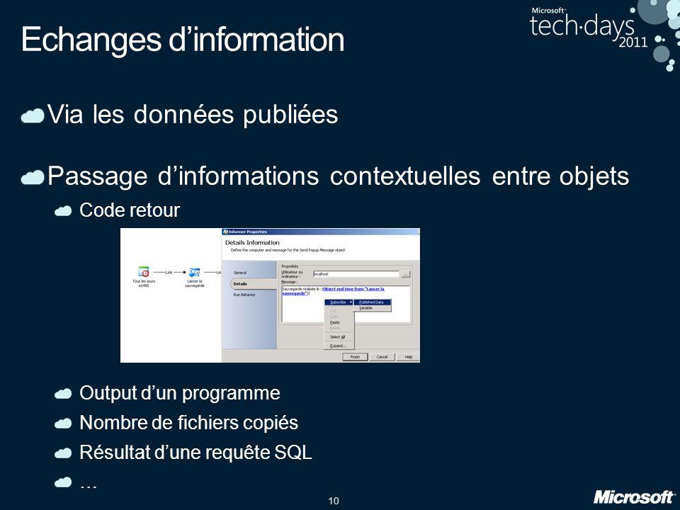 10 Via les données publiées Passage dinformations contextuelles entre objets Code retour Output dun programme Nombre de fichiers copiés Résultat dune