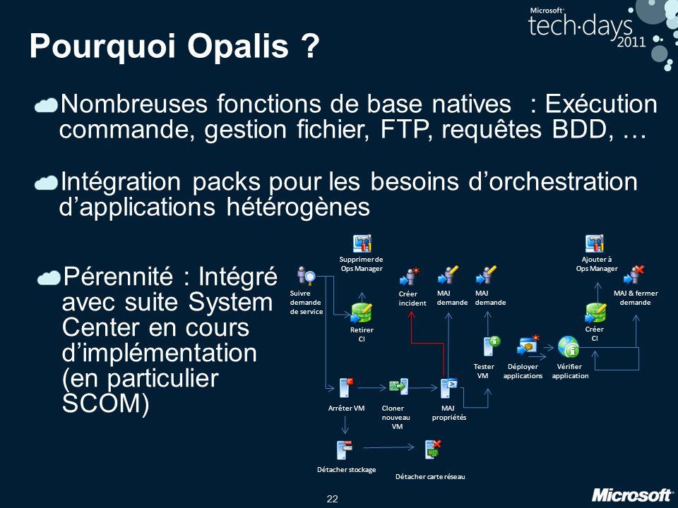 22 Pourquoi Opalis ? Nombreuses fonctions de base natives : Exécution commande, gestion fichier, FTP, requêtes BDD, … Intégration packs pour les besoi