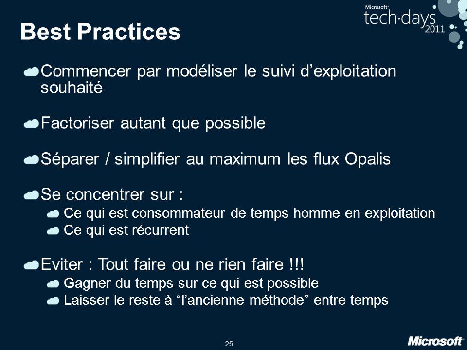 25 Best Practices Commencer par modéliser le suivi dexploitation souhaité Factoriser autant que possible Séparer / simplifier au maximum les flux Opal
