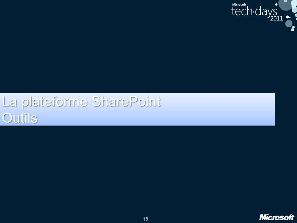 16 La plateforme SharePoint Outils Outils