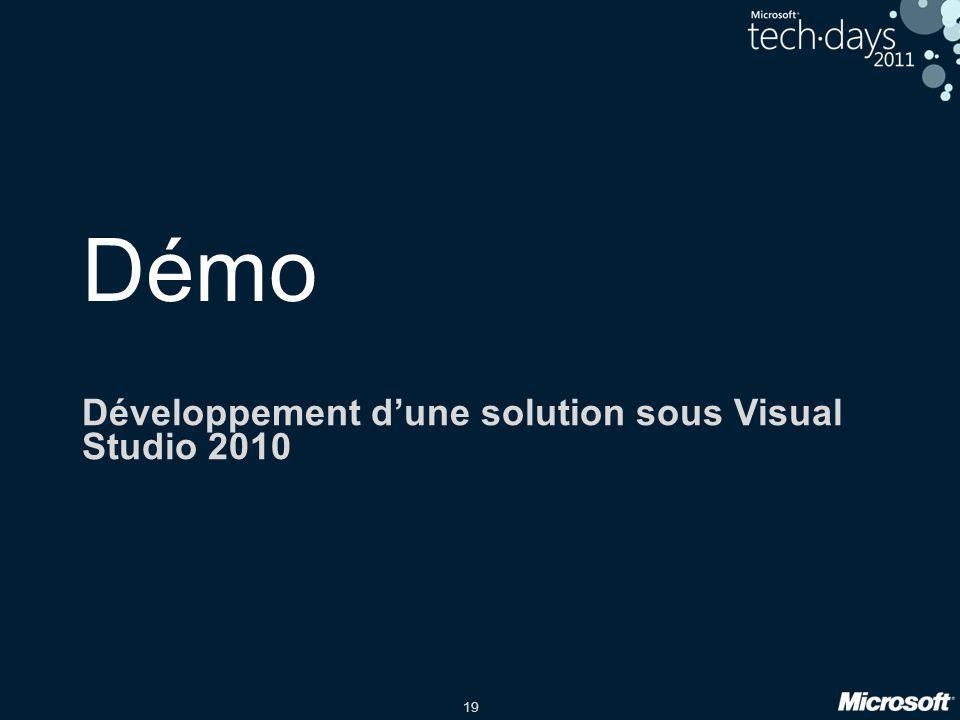 19 Démo Développement dune solution sous Visual Studio 2010