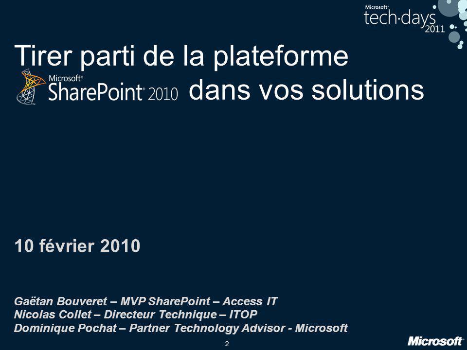 2 Tirer parti de la plateforme dans vos solutions 10 février 2010 Gaëtan Bouveret – MVP SharePoint – Access IT Nicolas Collet – Directeur Technique –