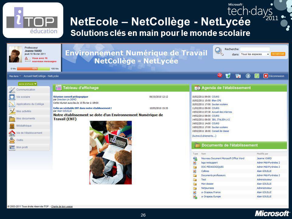 26 NetEcole – NetCollège - NetLycée Solutions clés en main pour le monde scolaire