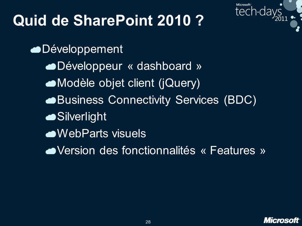 28 Quid de SharePoint 2010 ? Développement Développeur « dashboard » Modèle objet client (jQuery) Business Connectivity Services (BDC) Silverlight Web