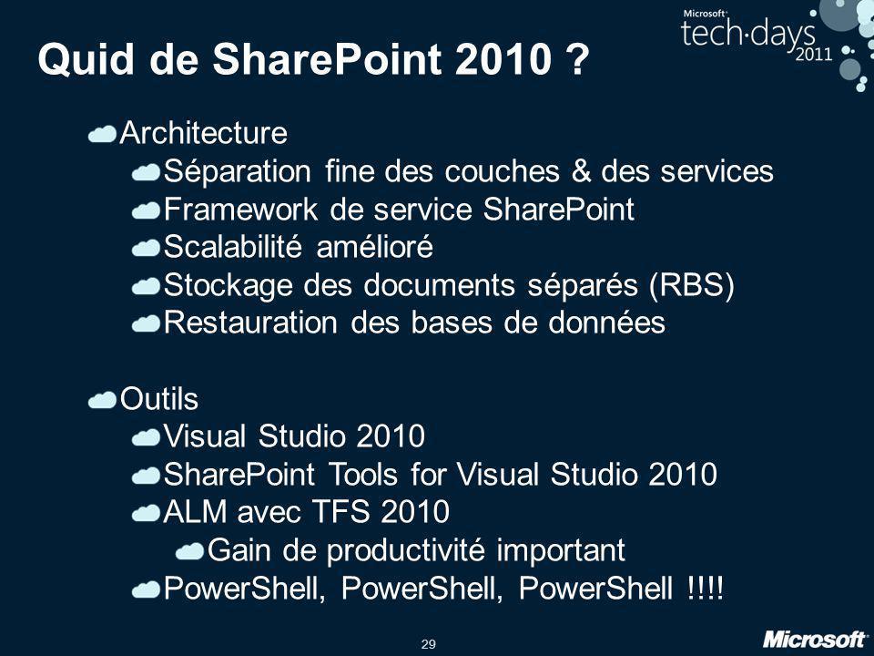 29 Quid de SharePoint 2010 ? Architecture Séparation fine des couches & des services Framework de service SharePoint Scalabilité amélioré Stockage des