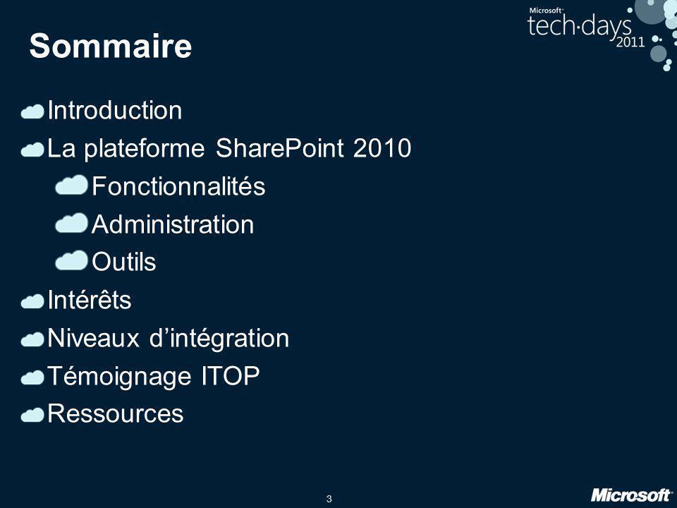 3 Sommaire Introduction La plateforme SharePoint 2010 Fonctionnalités Administration Outils Intérêts Niveaux dintégration Témoignage ITOP Ressources