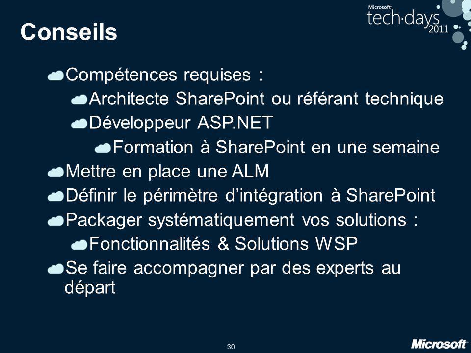 30 Conseils Compétences requises : Architecte SharePoint ou référant technique Développeur ASP.NET Formation à SharePoint en une semaine Mettre en pla