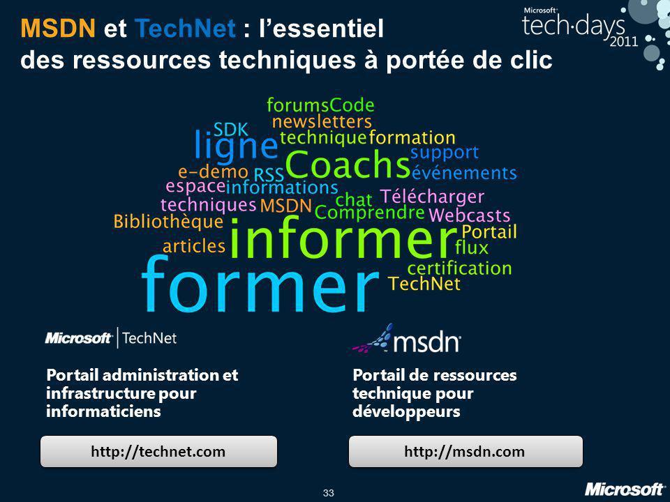 33 MSDN et TechNet : lessentiel des ressources techniques à portée de clic http://technet.com http://msdn.com Portail administration et infrastructure