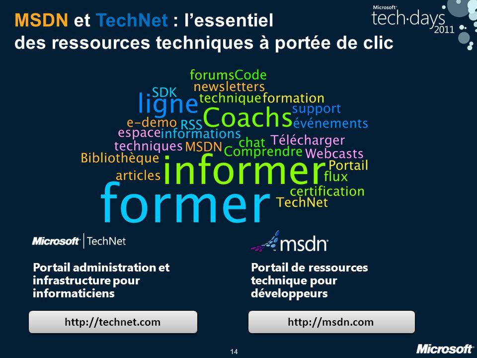 14 MSDN et TechNet : lessentiel des ressources techniques à portée de clic http://technet.com http://msdn.com Portail administration et infrastructure
