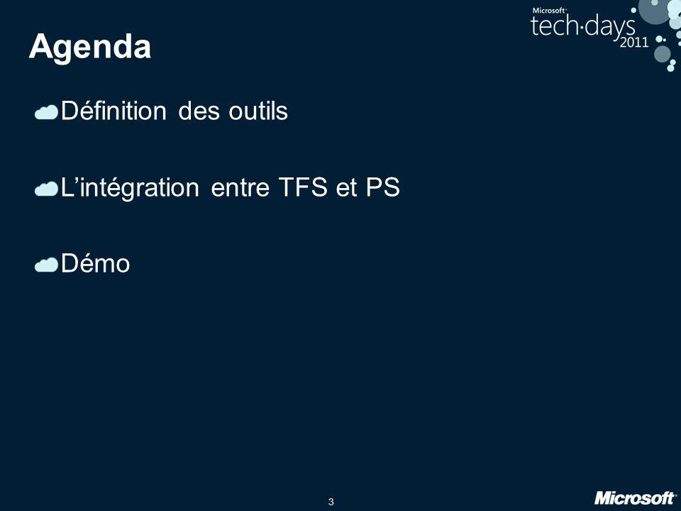3 Agenda Définition des outils Lintégration entre TFS et PS Démo